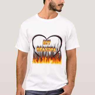 Hot grandpa fire and red marble heart. T-Shirt