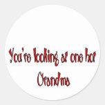 Hot grandparents classic round sticker