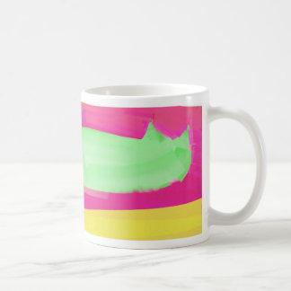hot green abstract cat classic white coffee mug