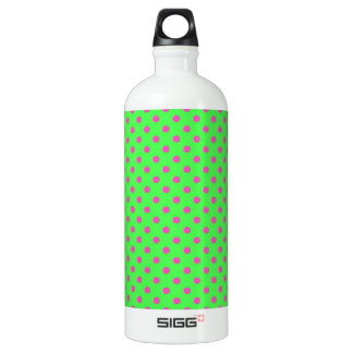 hot green and pink polka dots aluminum water bottle