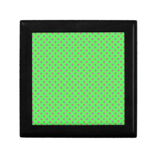 hot green and pink polka dots keepsake boxes