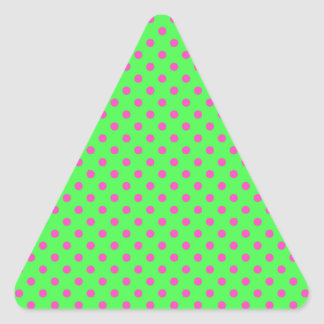 hot green and pink polka dots triangle sticker