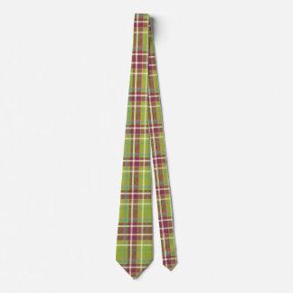 Hot Green Plaid Neck Tie