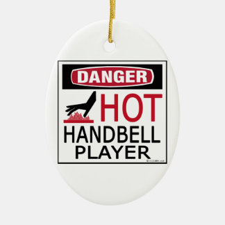 Hot Handbell Player Double-Sided Oval Ceramic Christmas Ornament