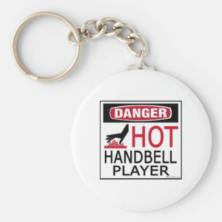 Hot Handbell Player Basic Round Button Keychain