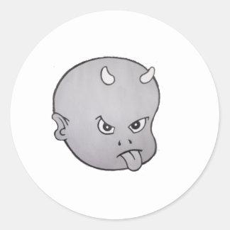 HOT HEAD BIG HEAD (grey) Round Sticker