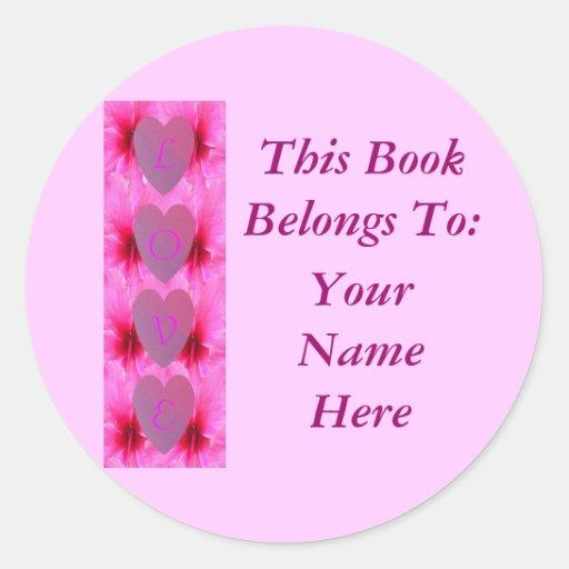 Hot Hibiscus Love, Book Plate Sticker