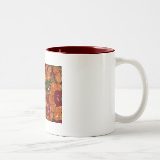Hot! Hot! Hot! - Peppers, that is Two-Tone Coffee Mug