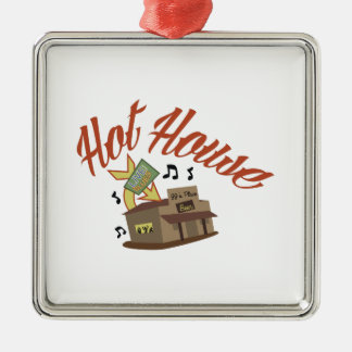 Hot House Square Metal Christmas Ornament