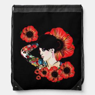 Hot inked girl ART BY LeahG Poppy flower red black Backpack