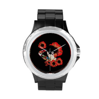 Hot inked girl ART BY LeahG Poppy flower red black Wristwatches