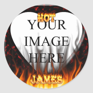Hot James fire and red marble heart Stickers