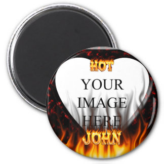 Hot John fire and flames red marble 2 Inch Round Magnet