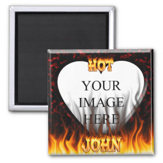 Hot John fire and flames red marble 2 Inch Square Magnet
