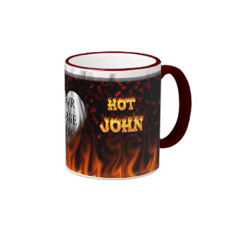 Hot John fire and flames red marble Mugs