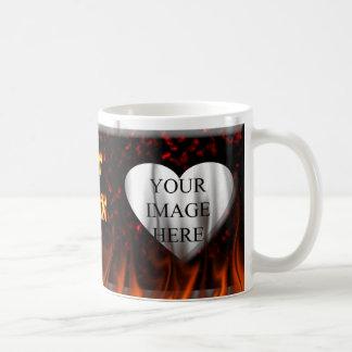 Hot John fire and flames red marble Mug