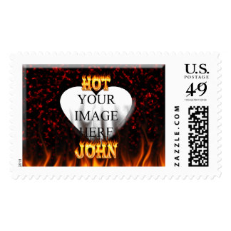 Hot John fire and flames red marble Postage Stamp