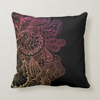 Hot Lace on Black Throw Pillow