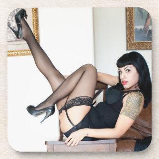 Hot Lady in Black Beverage Coaster