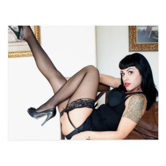 Hot Lady in Black Postcard