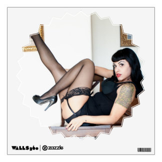 Hot Lady in Black Wall Decal