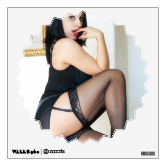 Hot Lady in Black Wall Stickers