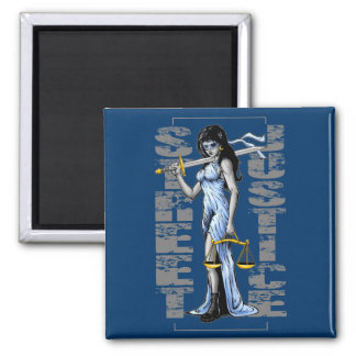 Hot Lady Justice by Street Justice 2 Inch Square Magnet