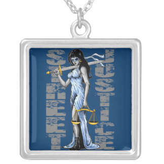 Hot Lady Justice by Street Justice Silver Plated Necklace