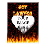 Hot Lawyer fire and flames red marble Postcard