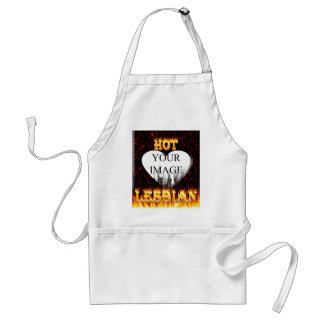 Hot Lesbian fire and red marble heart Adult Apron