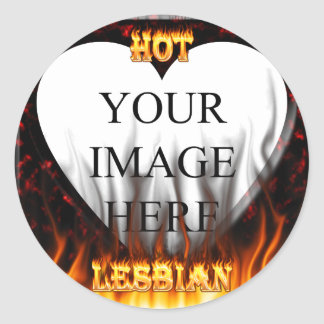 Hot Lesbian fire and red marble heart Round Sticker