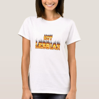 Hot Lesbian fire and red marble heart T-Shirt