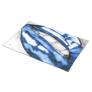 Hot Lips (Blue) Cloth Placemat