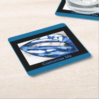 Hot Lips (Blue) Square Paper Coaster