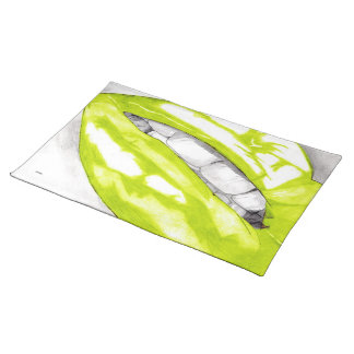 Hot Lips (Lime) Cloth Placemat