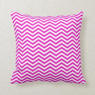 Hot Magenta Chevron Stripes Throw Pillows
