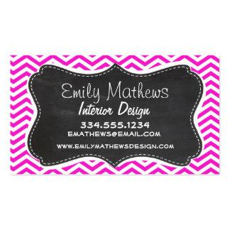 Hot Magenta Chevron Stripes; Retro Chalkboard look Business Card Template