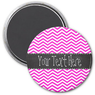 Hot Magenta Chevron Stripes; Retro Chalkboard look 3 Inch Round Magnet