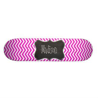 Hot Magenta Chevron Stripes; Retro Chalkboard look Skate Board Decks