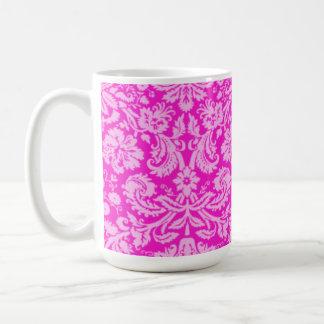 Hot Magenta Damask Classic White Coffee Mug