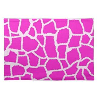 Hot Magenta Giraffe Animal Print Placemats