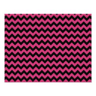 Hot Magenta Pink and Black Chevron Pattern Photographic Print