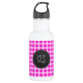 Hot Magenta Pink Gingham; Chalkboard look Stainless Steel Water Bottle