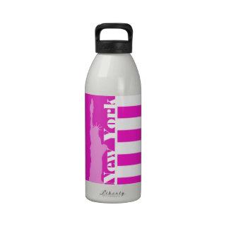 Hot Magenta Pink Stripes; New York Drinking Bottle