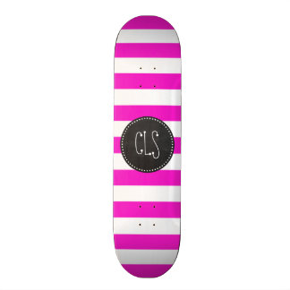 Hot Magenta Pink Stripes; Retro Chalkboard look Skateboard Decks