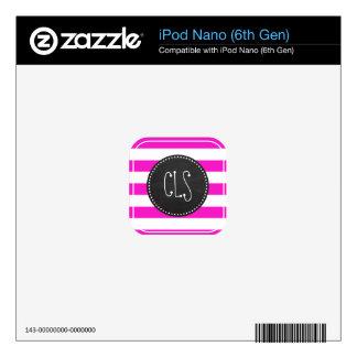Hot Magenta Pink Stripes; Retro Chalkboard look iPod Nano Decal