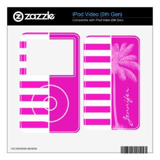 Hot Magenta Pink Stripes; Retro Palm iPod Video Skins