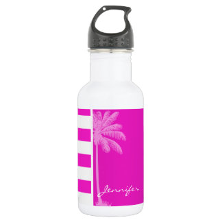 Hot Magenta Pink Stripes; Retro Palm Water Bottle