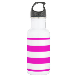 Hot Magenta Pink Stripes Water Bottle