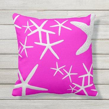 Beach Themed Hot Magenta Starfish Decorative Throw Pillow